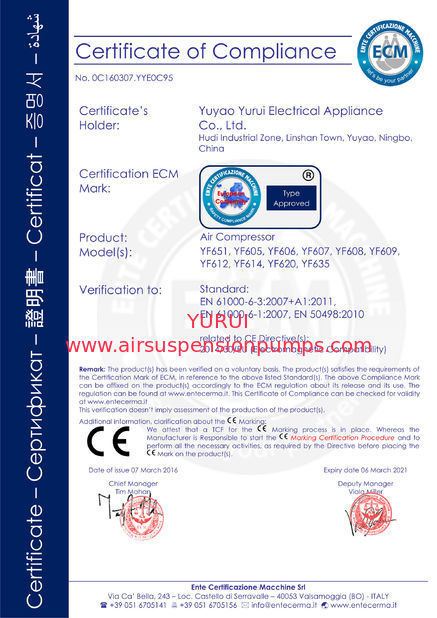 China Yuyao City Yurui Electrical Appliance Co., Ltd. Certificações